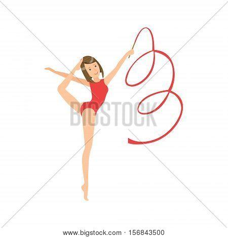 Professional Rhythmic Gymnastics Sportswoman In Red Leotard Performing An Element With Ribbon Apparatus. Female Competition Program Gymnast Performance Cartoon Vector Illustration.