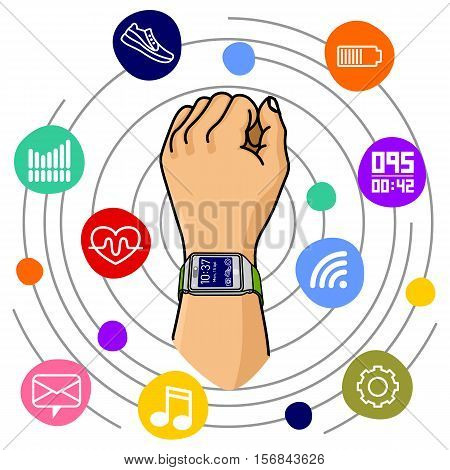 Vector Illustration Of Fitness Band, Vector Illustration Of Fitness Band, Smart Watch.