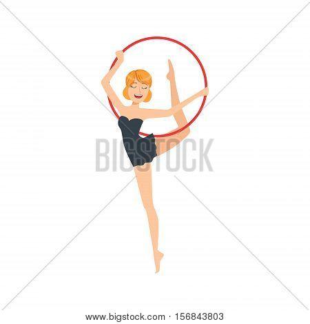 Professional Rhythmic Gymnastics Sportswoman In Black Dress Performing An Element With Hoop Apparatus. Female Competition Program Gymnast Performance Cartoon Vector Illustration.