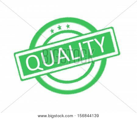 Illustration of quality written on green rubber stamp