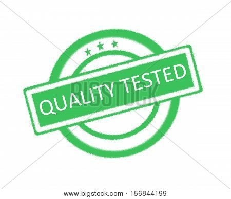 Illustration of quality tested written on green rubber stamp