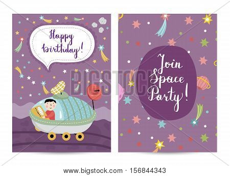 Happy birthday cartoon greeting card on space theme. Boy driving exploration rover on distant planet in cosmos, stars, comets, planets around vector. Bright invitation on childrens costumed party