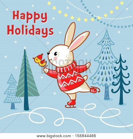 Christmas card with a hare who skates. Christmas cute illustration in a children s style.