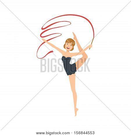 Professional Rhythmic Gymnastics Sportswoman In Black Dress Performing An Element With Ribbon Apparatus. Female Competition Program Gymnast Performance Cartoon Vector Illustration.