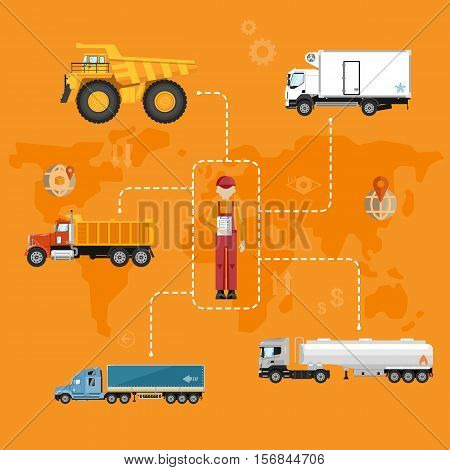 Global logistics network concept. Air cargo trucking, rail transportation, maritime shipping vector illustration. Worldwide delivery business banner. Vehicles designed to carry large numbers cargo