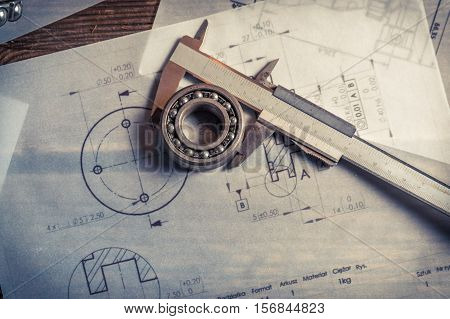 Bearing, Calipers And Mechanical Diagrams As Education Concept