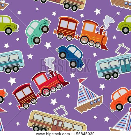 Seamless kids transport toys background. Cartoon vector illustration for boys wit tram, train, boat, cars
