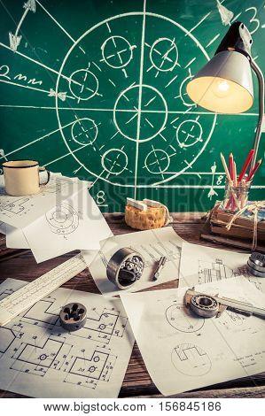 Vintage Laboratory Design Of Mechanical Parts As Education Concept