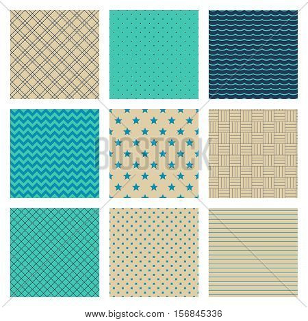 Set of Turquoise Blue Beige Ornaments. 9 seamless vector patterns.