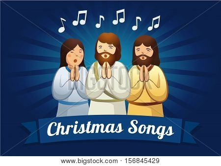 Christmas caroling card. The shepherds are singing carols in the Christmas night