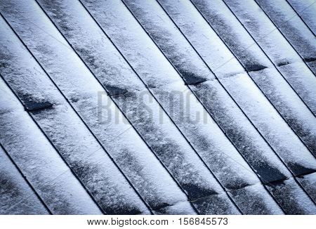 background or texture Metal roofs of windblown snow