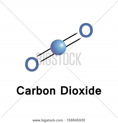 Carbon dioxide chemical formula CO2 is a colorless and odorless gas vital to life on Earth. Vector industrial illustration.