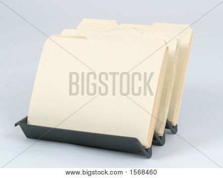 Office File Folders On A White Background