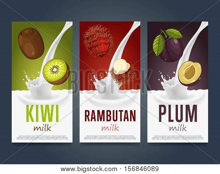 Milkshake concept with milk splash and fruit vector illustration. Milk dessert, yogurt, fruit mix, cocktail drink, fruit smoothie with kiwi, rambutan and plum packaging design template. Dairy product.