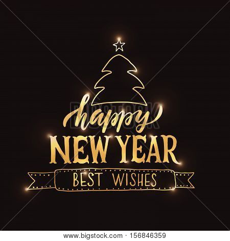 Lettering 'happy New Year' For Christmas/new Year Greeting Card, Invitation Template.