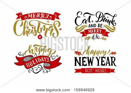Hand Sketched Logotype, Badge/icon Typography Set For Christmas/new Year Holiday Season.