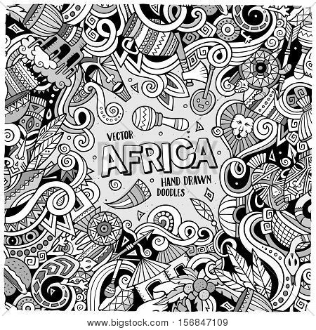 Cartoon cute doodles hand drawn Africa frame design. Line art detailed, with lots of objects background. Funny vector illustration. Sketch border with african items