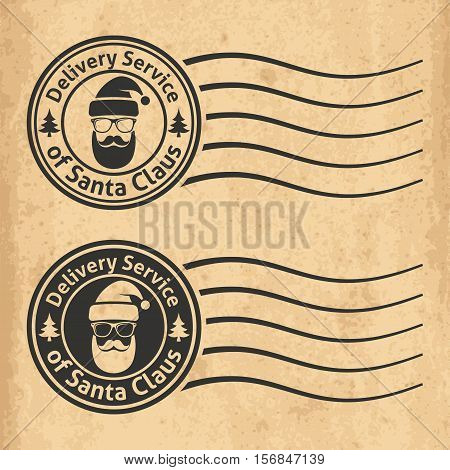 Postal Stamps Of The Delivery Service Of Santa Claus On Old Grungy Paper Background. Vector Illustra