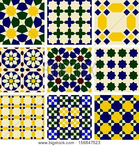 Set of nine oriental islamic Mauritanian seamless patterns.