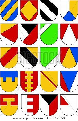 Set of colorful templates for coats of arms. Collection of twenty shields.