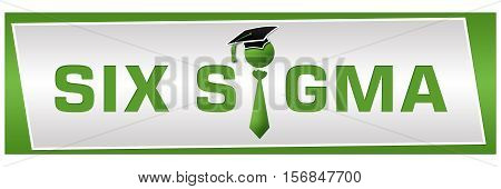 Six sigma text written with conceptual symbol over green background.