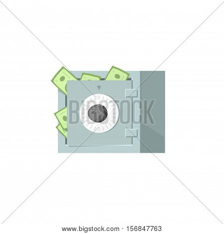 Safe box with money vector vector icon isolated on white background, protected money idea, strongbox illustration
