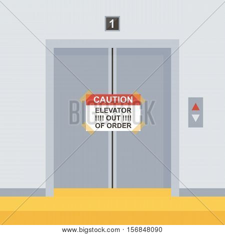 Flat design elevator doors icon, vector illustration with sign out of order.