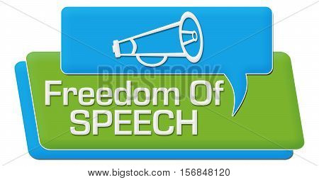 Freedom of speech concept image with text and related symbols.