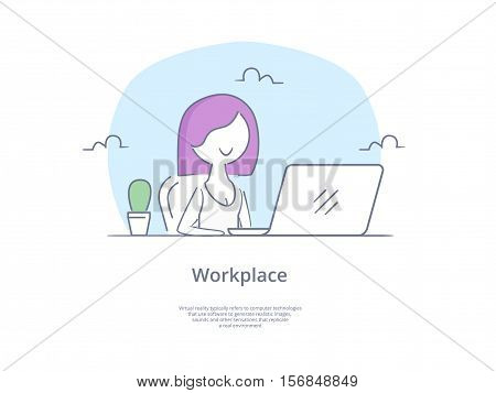 Premium Quality Line Icon And Concept Set: Young beautiful businesswomen work on portable laptop computer, freelancer, girl at workplace.