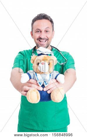 Trustworthy Medic Or  Doctor Holding Plush Bear