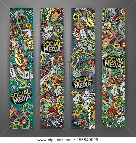 Cartoon colorful vector hand drawn doodles internet corporate identity. 4 vertical banners design. Templates set