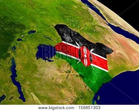 Kenya With Flag On Earth