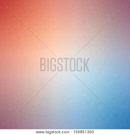 Low Poly Pattern Design. Small Cells. Vector Polygonal Background Filled With Red To Blue Gradient.