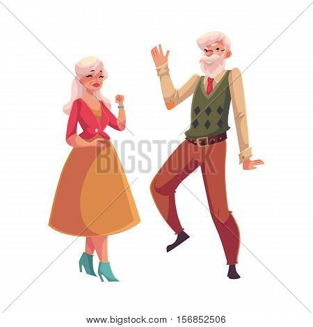 Old, senior couple dancing together, cartoon style vector illustration isolated on white background. Full height portrait of old lady and gentleman dancing romantically