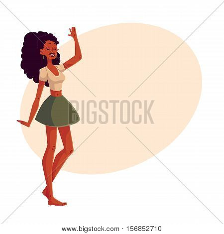 Young barefooted african american woman dancing, cartoon style vector illustration isolated on yellow background. Young and beautiful black woman, teenager, girl dancing at a party in skirt, t-shirt