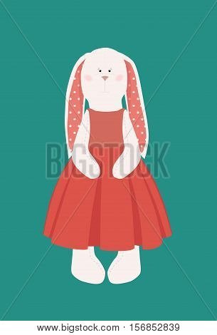 Handmade tilda bunny. Tilda Doll. Textile rabbit in red dress. Interior doll, handmade toy. Flat style vector illustration.