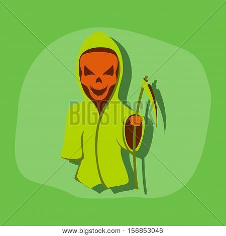 paper sticker on stylish background of halloween death scythe