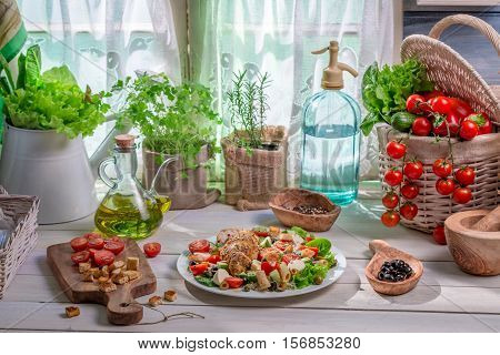 Healthy Food Prepared In The Spring Kitchen