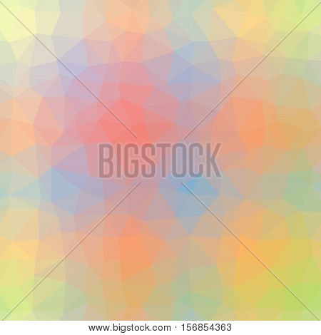 Low Poly Pattern Design. Medium Cells. Vector Polygonal Background Filled With Multicolored Tinted G