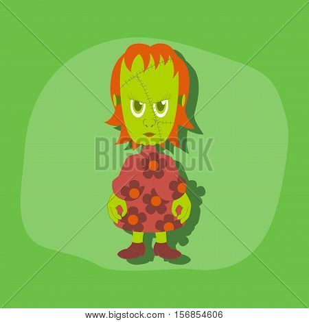 paper sticker on stylish background of zombie woman