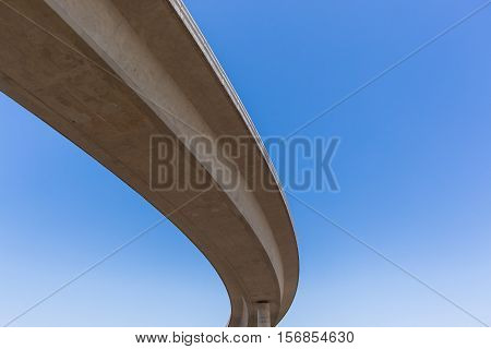 New highway roads junction overhead ramps exits entry for traffic vehicle flow.