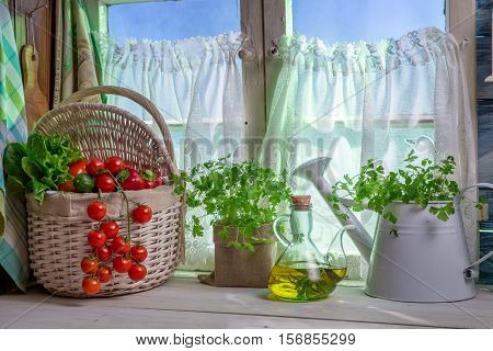 Full Kitchen With Fresh Spring Vegetables On Old Wooden Table