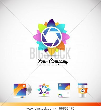 Photography aperture shutter camera vector logo icon sign design template corporate identity