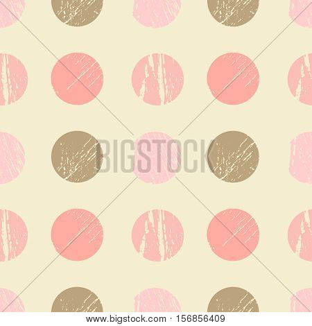 Abstract seamless pattern with polka dots in grunge style with scratches, vector illustration