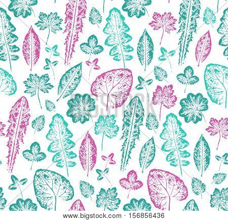 Seamless handcrafted pattern with leaves imprints. Vector seamless pattern. Bright autumn background. Grunge leaves background