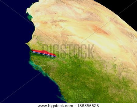 Map of Gambia with embedded flag on planet surface. 3D illustration. Elements of this image furnished by NASA. poster