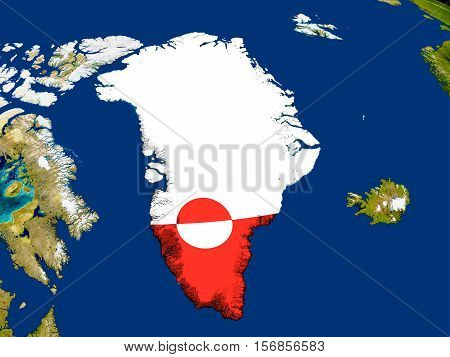 Greenland With Flag On Earth