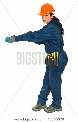 Full Length Of Worker Woman Pulling