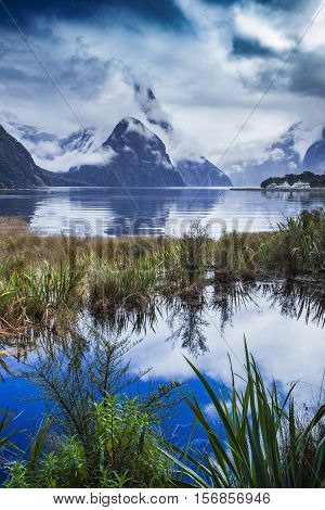 beautiful scenic of milfordsound fiordland national park important traveling destination in south island new zealand