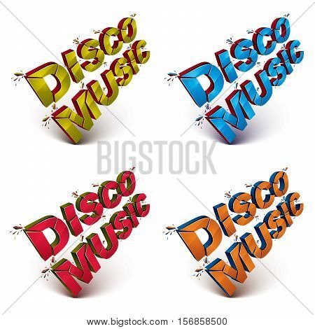 Set Of Dimensional Shattered Vector Rock Word, Contemporary Musical Style Design Elements In Explosi